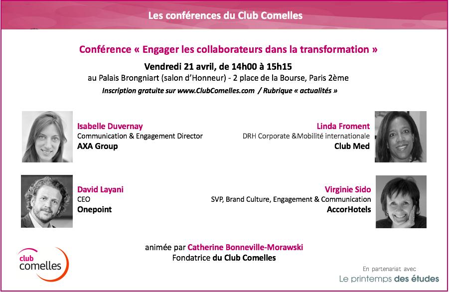 """Conférence """"Engager les collaborateurs dans la transformation""""   Club Comelles"""